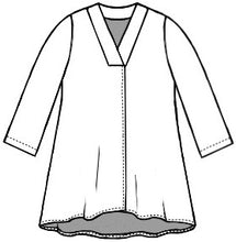 Load image into Gallery viewer, flat drawing of a vneck top with 3/4 sleeves and a split at the bottom of the front center seam