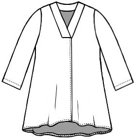 flat drawing of a vneck top with 3/4 sleeves and a split at the bottom of the front center seam