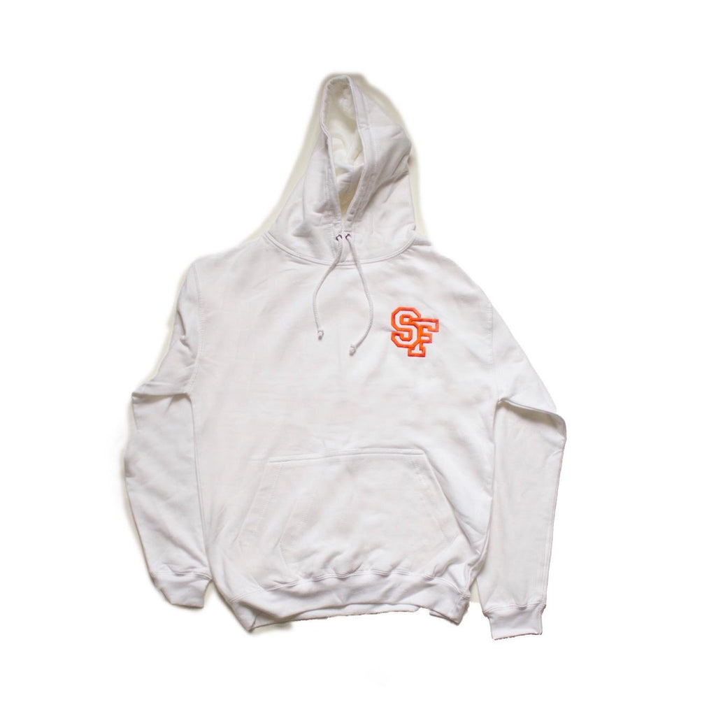 STAY FREE - SF Logo Embroidered White Hoodie