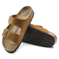 Birkenstock Arizona Suede Soft Footbed Sandal in Mink