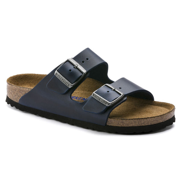 Birkenstock Arizona Oiled Leather Soft Footbed Sandal in Blue