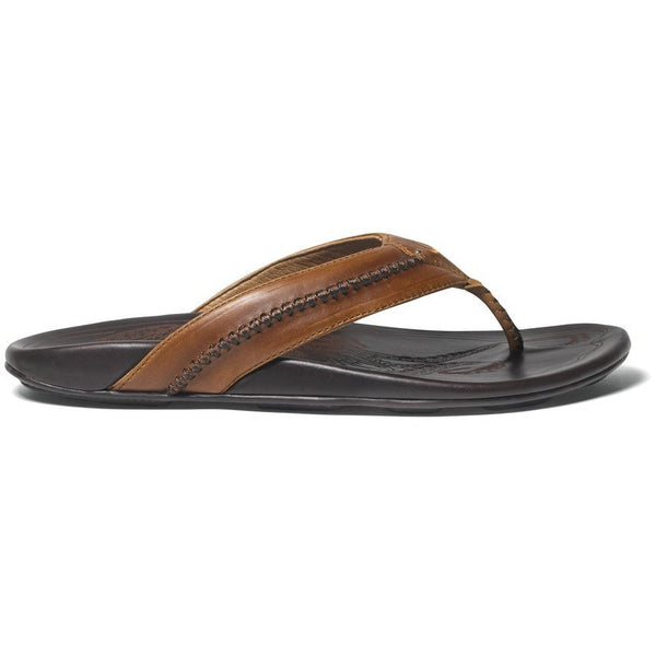 Olu Kai Men's Mea Ola Sandal in Tan/Dark Java