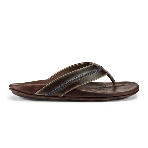 Olu Kai Men's Ola Sandal in Dark Shadow/Mustang