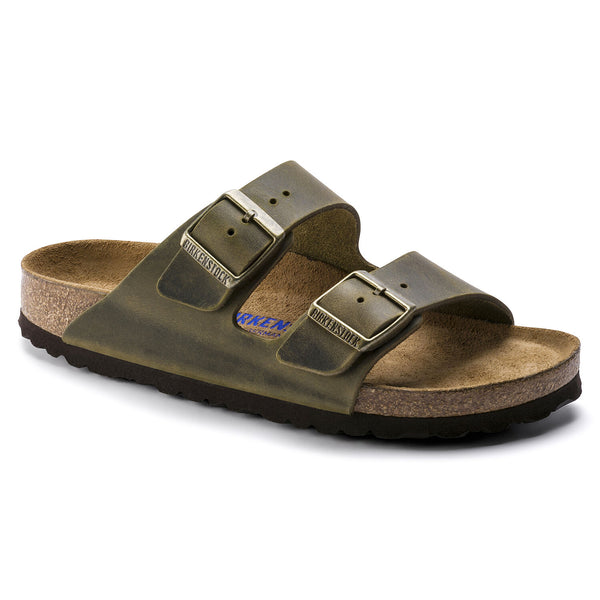 Birkenstock Arizona Oiled Leather Soft Footbed Sandal in Jade