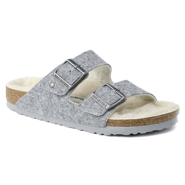 Birkenstock Arizona Shearling Suede Sandal in Light Gray