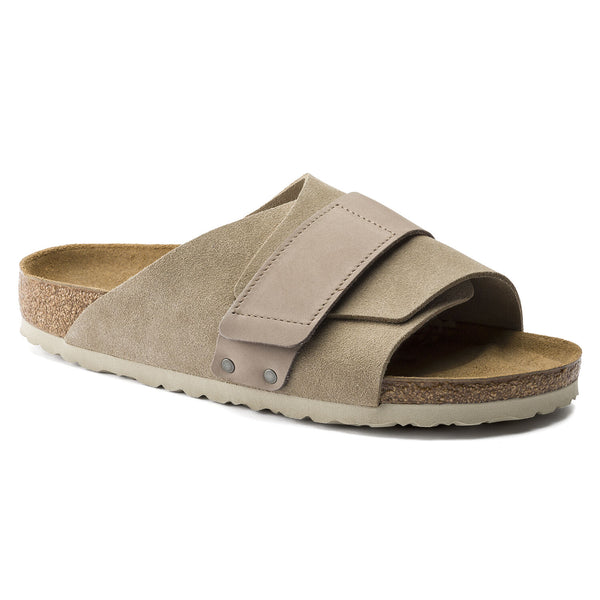Birkenstock Kyoto Oiled Leather/Suede Leather Sandal in Taupe