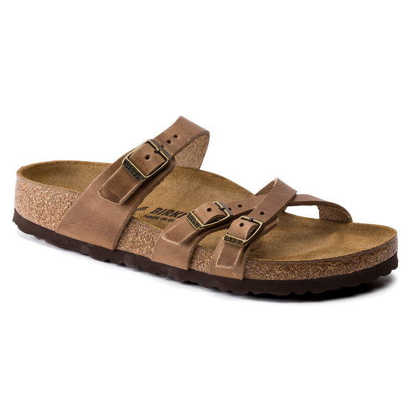 Birkenstock Franca Oiled Leather Classic Footbed Sandal in Tobacco Brown