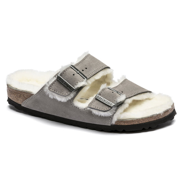 Birkenstock Arizona Shearling Suede Sandal in Stone Coin