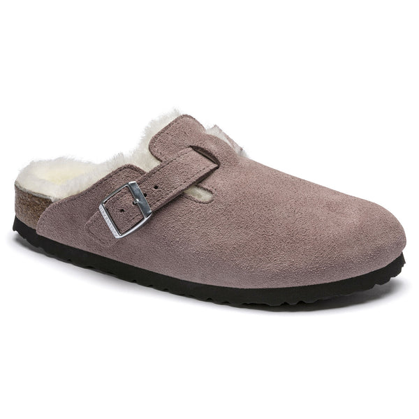 Birkenstock Women's Boston Shearling Suede Leather Clog in Lavender Blush
