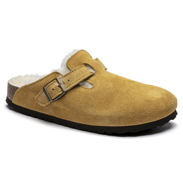 Birkenstock Women's Boston Shearling Suede Leather Clog in Ochre-Beige