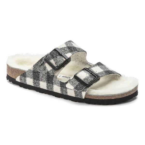Birkenstock Arizona Shearling Wool Sandal in Plaid White