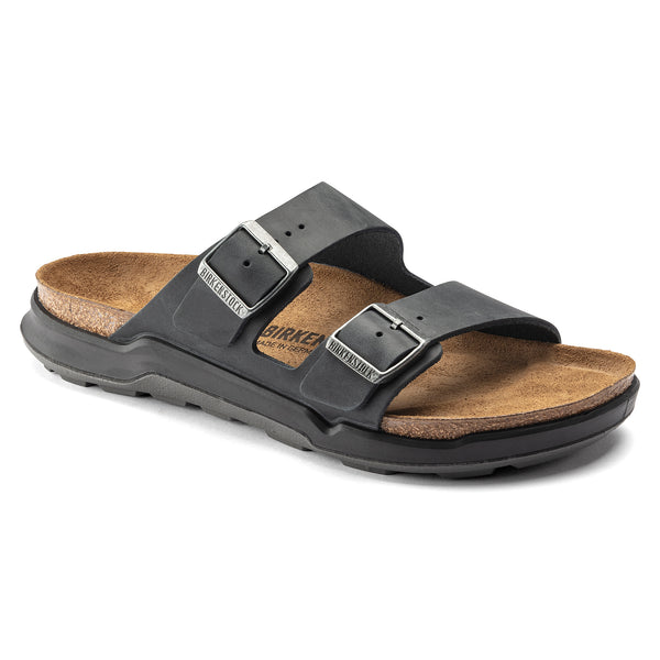 Birkenstock Arizona Cross Town Oiled Leather Classic Footbed Sandal in Black