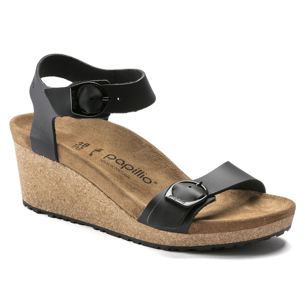 Birkenstock Soley Ring-Buckle Leather Wedge Sandal in Black