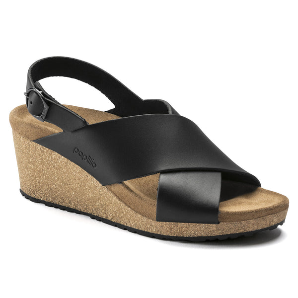 Birkenstock Samira Ring-Buckle Natural Leather Sandal in Black