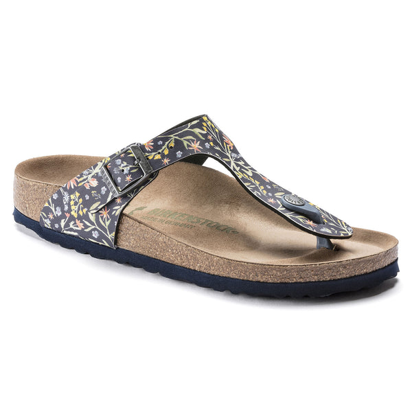 Birkenstock Gizeh Vegan Birko-Flor Classic Footbed Sandal in  Watercolor Flower Navy