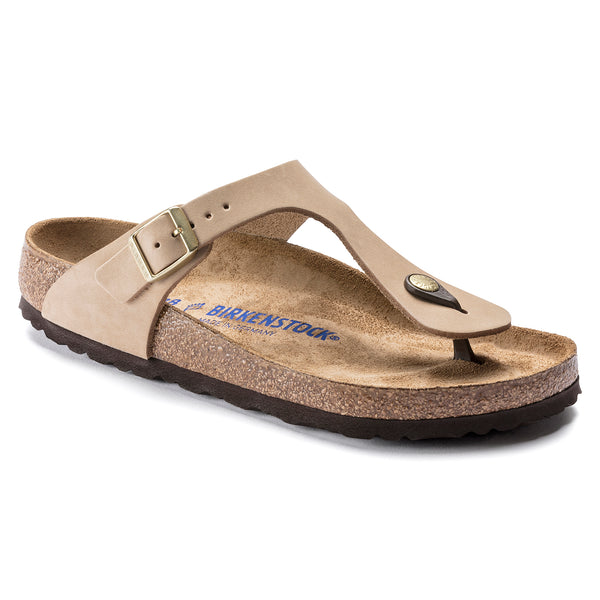 Birkenstock Gizeh Nubuck Leather Soft Footbed Sandal in Sandcastle