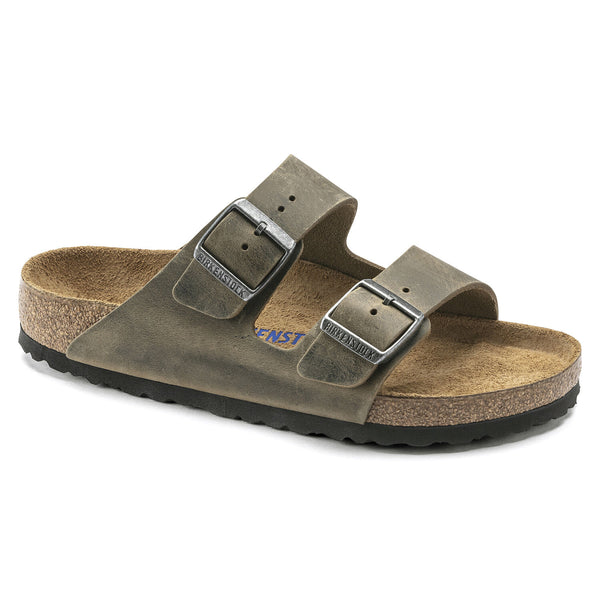 Birkenstock Arizona Oiled Leather Soft Footbed Sandal in Faded Khaki