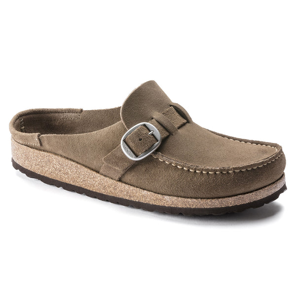Birkenstock Buckley Suede Leather Clog in Gray Taupe