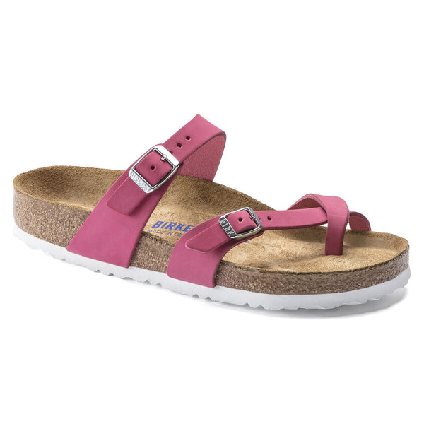 Birkenstock Mayari Nubuck Leather Soft Footbed Sandal in Fuchsia Tulip