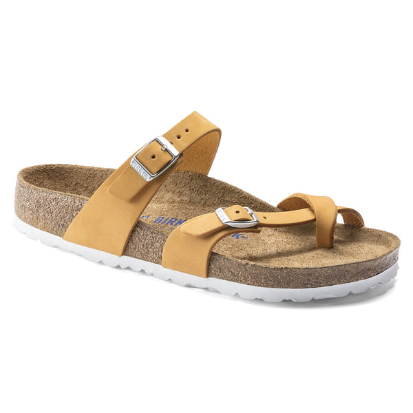 Birkenstock Mayari Nubuck Leather Soft Footbed Sandal in Apricot