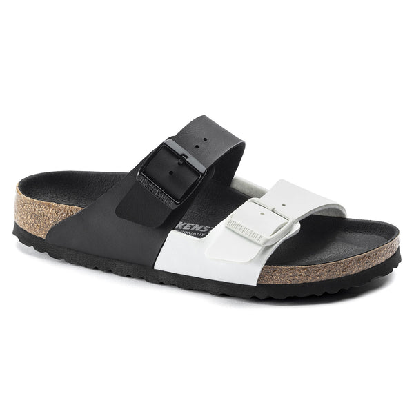 Birkenstock Arizona Split Birko-Flor Classic Footbed Sandal in Black/White