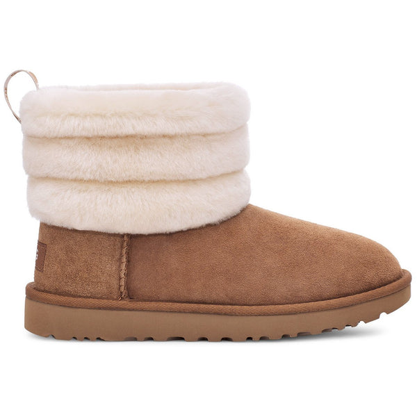 UGG WOMEN'S FLUFF MINI QUILTED BOOT IN CHESTNUT