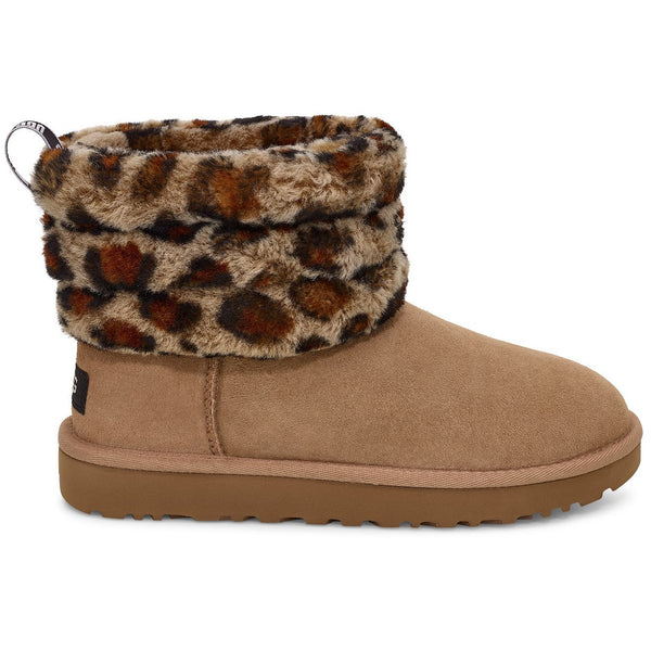 UGG WOMEN'S FLUFF MINI QUILTED LEOPARD BOOT IN AMPHORA