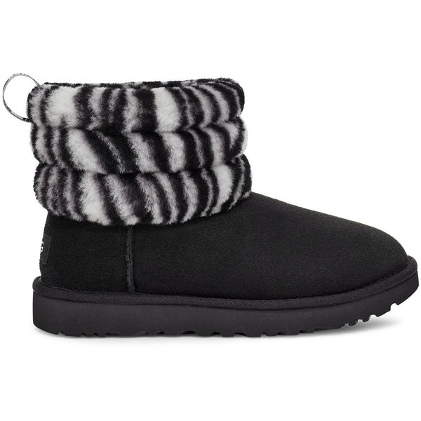 UGG WOMEN'S FLUFF MINI QUILTED ZEBRA BOOT IN BLACK/WHITE