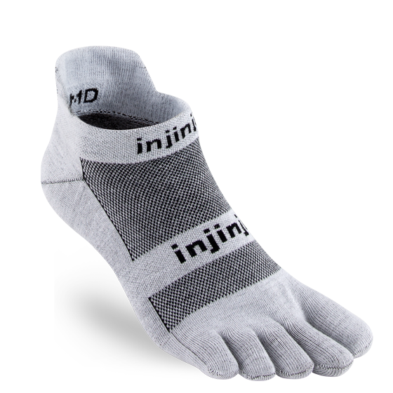 Injinji Men's Run Lightweight No-Show Sock in Gray