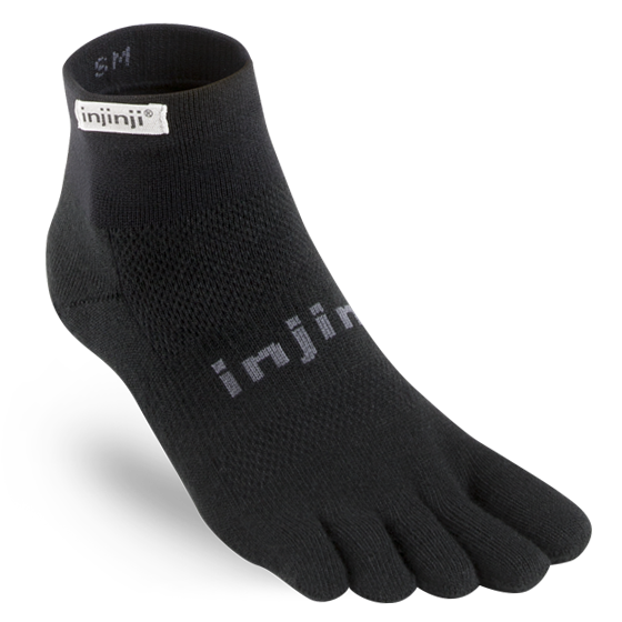 INJINJI MEN'S RUN LIGHTWEIGHT MINI-CREW SOCK IN BLACK