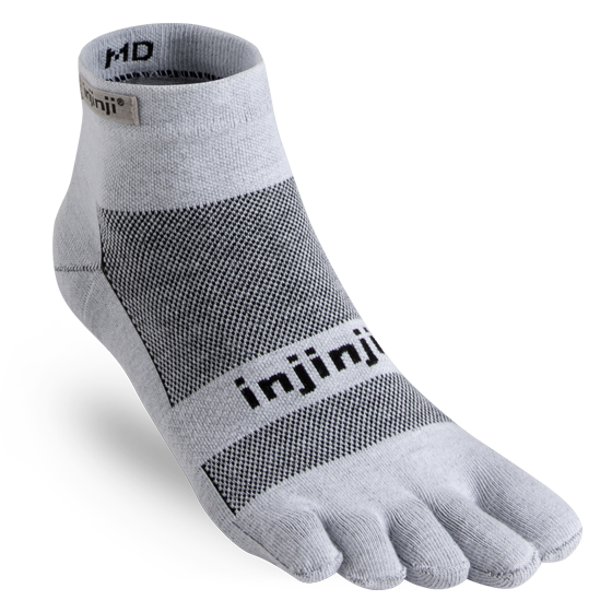 INJINJI MEN'S RUN LIGHTWEIGHT MINI-CREW SOCK IN GRAY