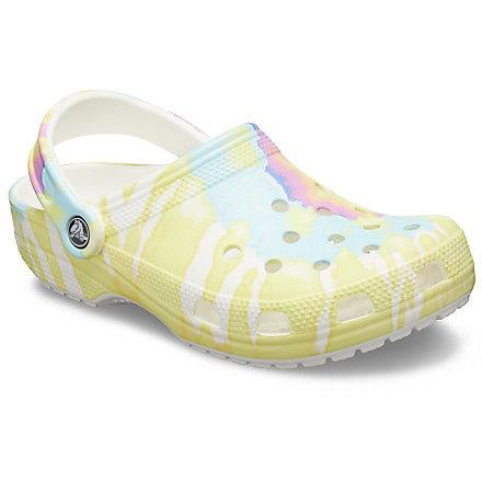 Crocs Classic Tie Dye Graphic Collection in White Multi