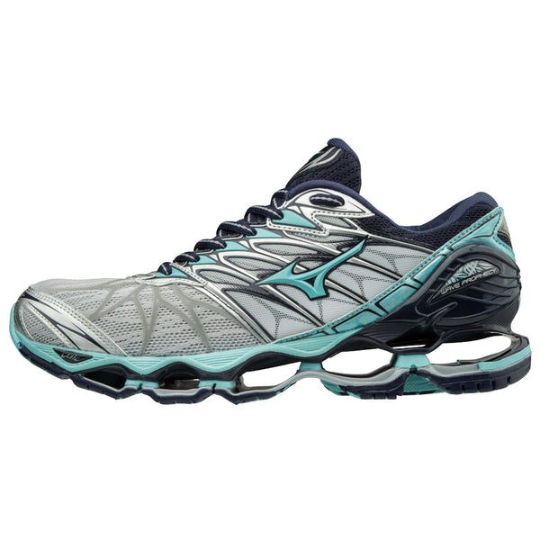MIZUNO WOMEN'S WAVE PROPHECY 7 RUNNING SHOE IN SILVER-SQUA SPLASH