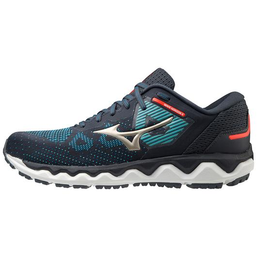 Mizuno Men's Wave Horizon 5 Running Shoe in India Ink-Platinum Gold