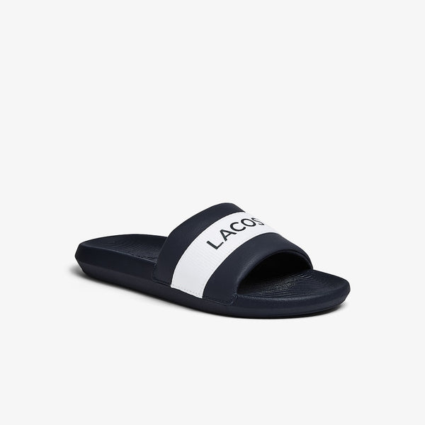 LACOSTE MEN'S CROCO TEXTILE LOGO SLIDE IN NAVY/WHITE