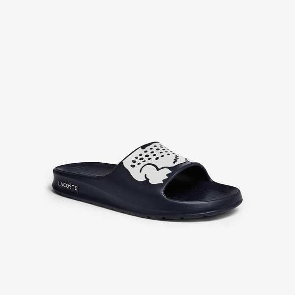 LACOSTE MEN'S CROCO 2.0 SYNTHETIC SLIDE IN NAVY & WHITE