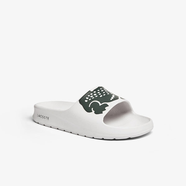 LACOSTE MEN'S CROCO 2.0 SYNTHETIC SLIDE IN WHITE/DARK GREEN