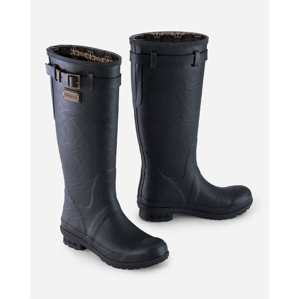 PENDLETON HERITAGE EMBOSSED TALL RAIN BOOTS IN SOLID BLACK