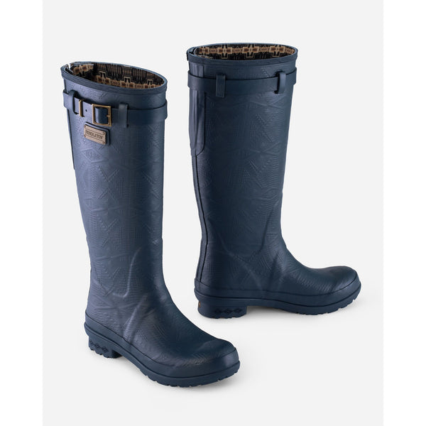 PENDLETON HERITAGE EMBOSSED TALL RAIN BOOTS IN SOLID NAVY