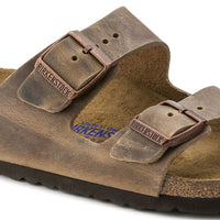 Birkenstock Arizona Oiled Leather Soft Footbed Sandal in Tobacco Brown