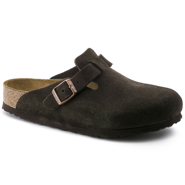 Birkenstock Boston Suede Leather Soft Footbed Clog in Mocha