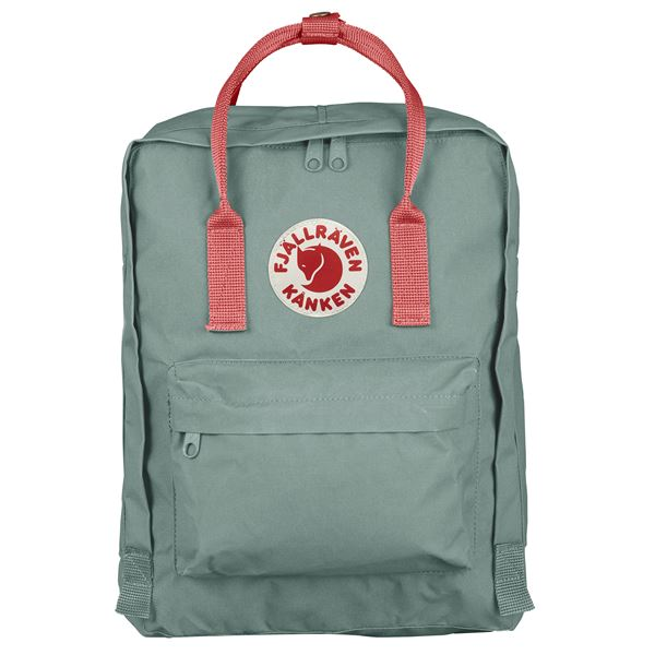 FJALLRAVEN CLASSIC KANKEN BACKPACK IN FROST GREEN-PEACH PINK