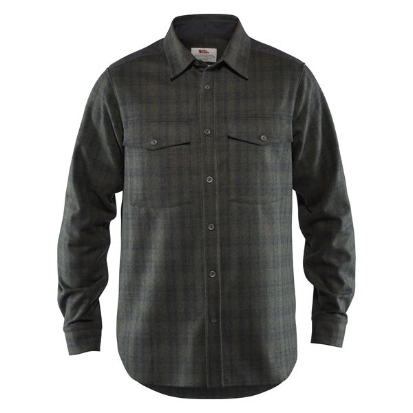 FJALLRAVEN MEN'S OVIK RE-WOOL SHIRT LS IN DARK GREY-OLIVE