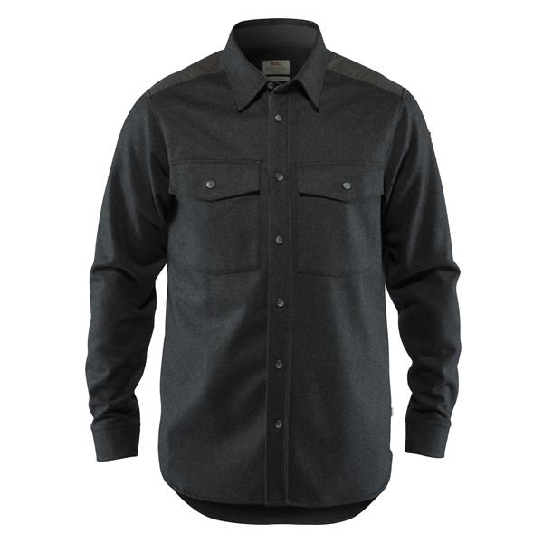 FJALLRAVEN MEN'S OVIK RE-WOOL SHIRT LS IN DARK GREY