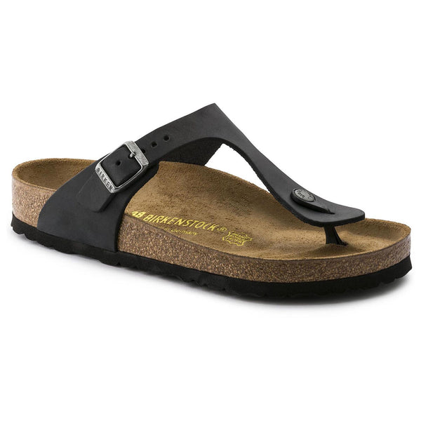 Birkenstock Gizeh Oiled Leather Classic Footbed Sandal in Black