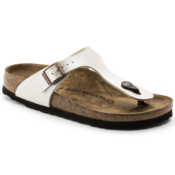 Birkenstock Gizeh Birko-Flor Classic Footbed Sandal in Graceful Pearl White