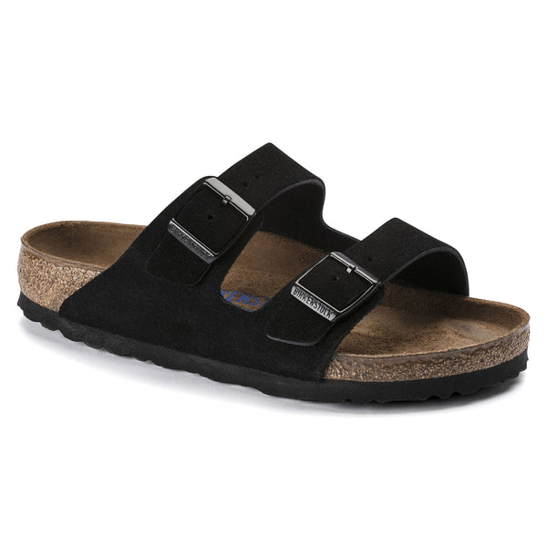 Birkenstock Arizona Suede Leather Soft Footbed Sandal in Black