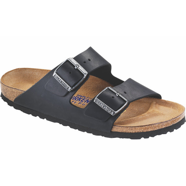 Birkenstock Arizona Oiled Leather Soft Footbed Sandal in Black