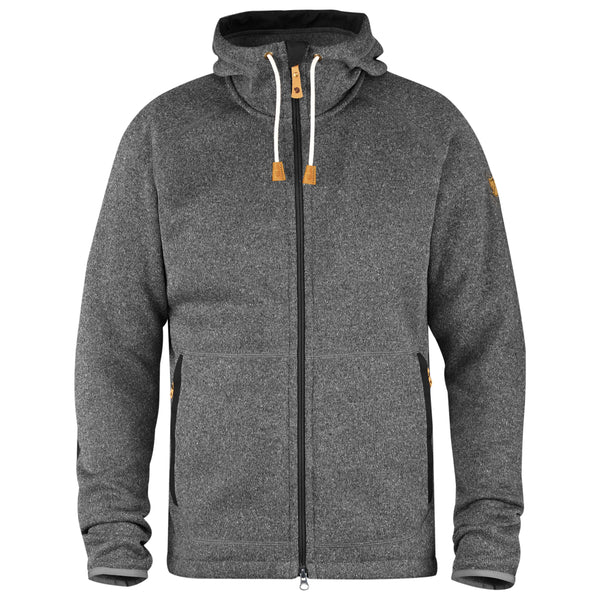 FJALLRAVEN MEN'S OVIK FLEECE HOODIE IN DARK GREY