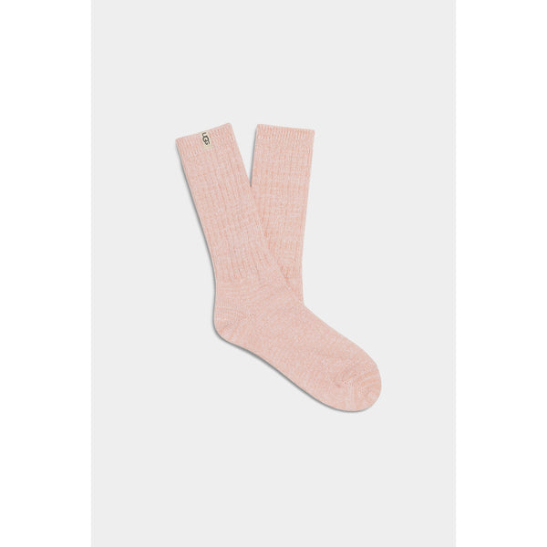 UGG WOMEN'S RIB KNIT SLOUCHY CREW SOCK IN PINK CLOUD